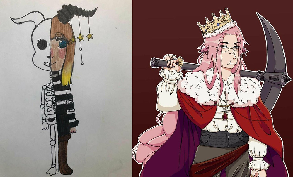 A side by side comparison of student's past and present work. on the left is a somewhat crude traditional drawing of a character, while on the right is a fairly polished digital drawing of a different character.