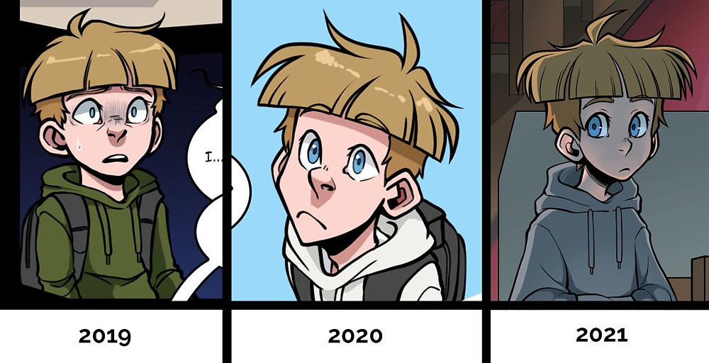 The same character drawn 3 times over the course of three years