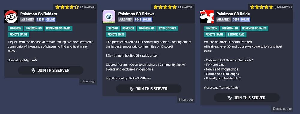 A screenshot of a few Discord servers pertaining to Pokemon Go.
