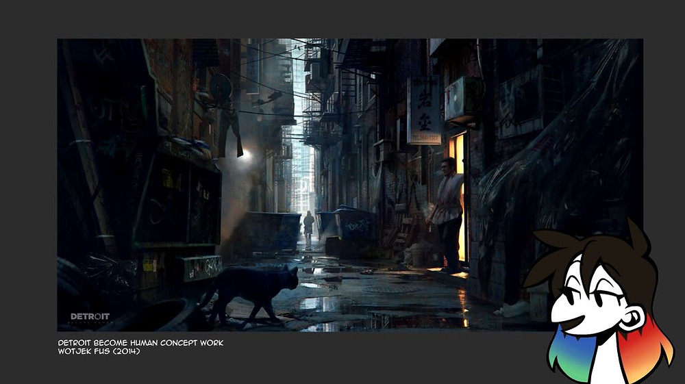 An image of concept artwork for Detroit Become Human by Wotjek Fus. Jessie's drawn avatar is in the bottom right corner.