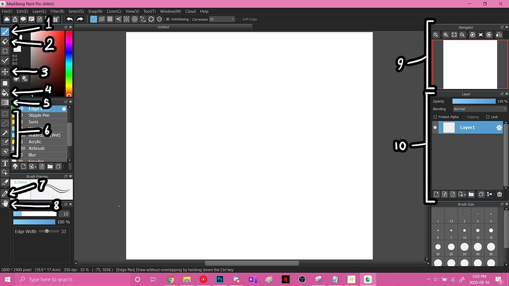 An image of what you'll see when you create a blank file on the default MediBang Paint Pro program, with varying sections notated with numbers to correspond with tools below.