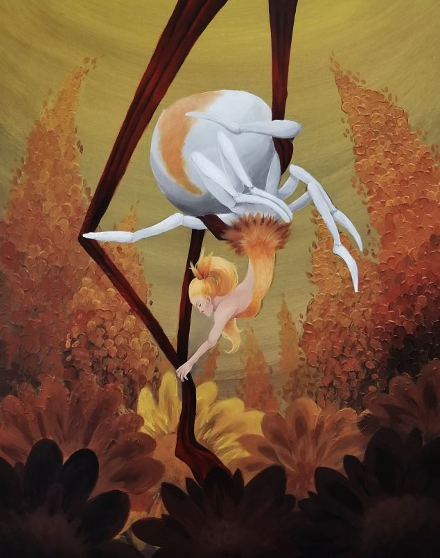 An acrylic painting by Jessie Chang of an arial silks dancer who's lower half is the body of a spider.