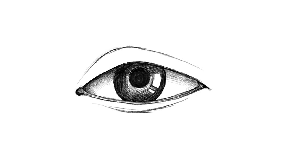 Step 7 of drawing a realistic eye: the eye is shaded