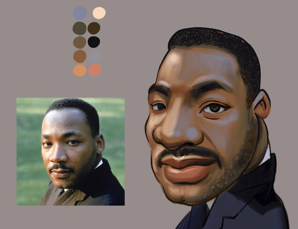 A caricature of Martin Luther King Jr. by Fei Lu