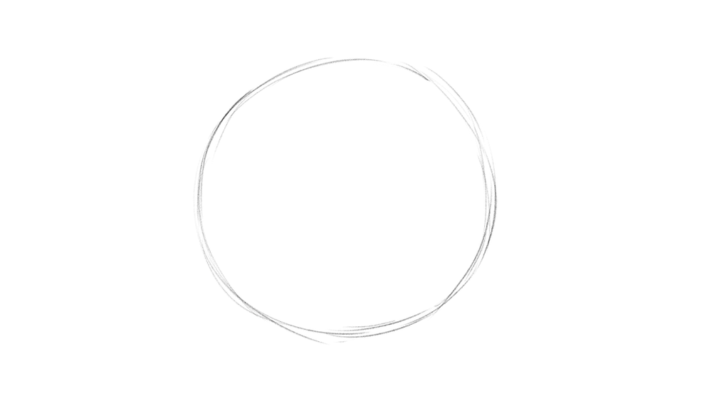 Step 1 of drawing a realistic eye: a circle is drawn