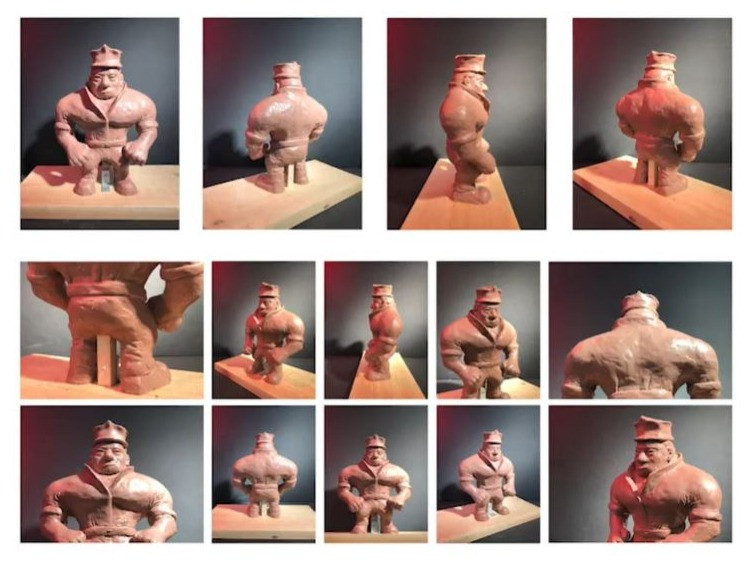 A portfolio piece by Andrew Chang. 14 images of a sculpture from multiple angles.