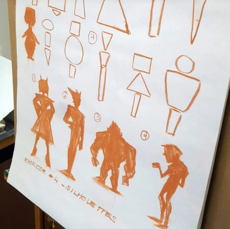 A group of silhouetted figures drawn by Alyssa Wongso. The shapes that make up their body are drawn above them.