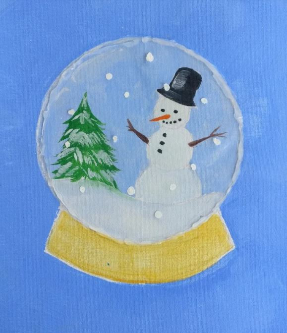 A painted illustration of a snowglobe. Within the snowglobe is a winter scene with a snow-covered pine tree on the left, and a snowman on the right. A piece of clear plastic is glued on top of the piece, with snowflakes painted on top of that.