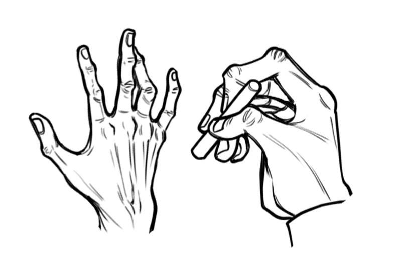 two illustrations of elderly hands