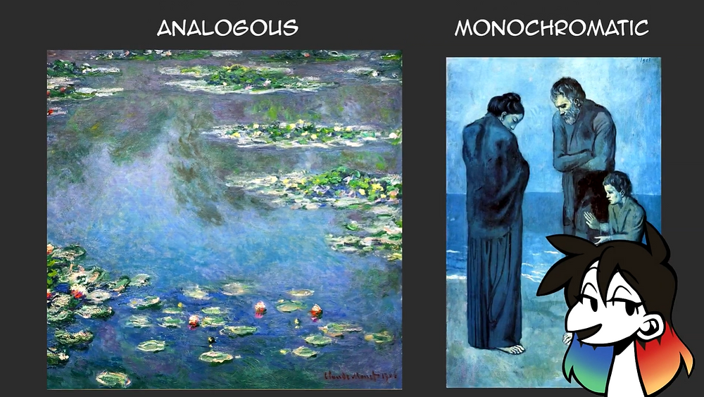 A side by side comparison of Monet's Water Lilies and Picasso's The Tragedy. Jessie's drawn avatar is in the bottom right corner.