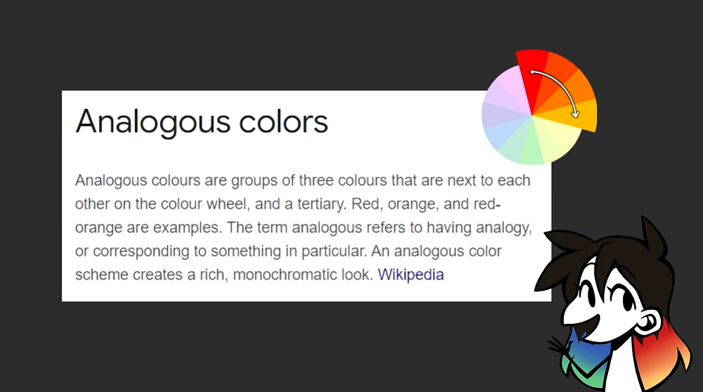 The definition of an analogous colour scheme with an analogous colour wheel near the top. Jessie's drawn avatar is in the bottom right corner.