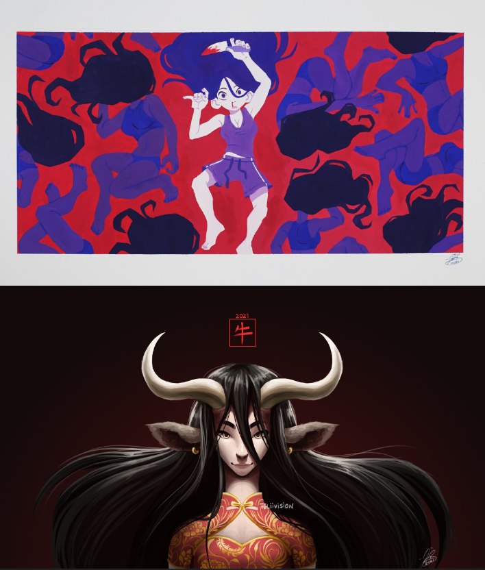 Two paintings. The first on top is gouache, while the second below is digital.