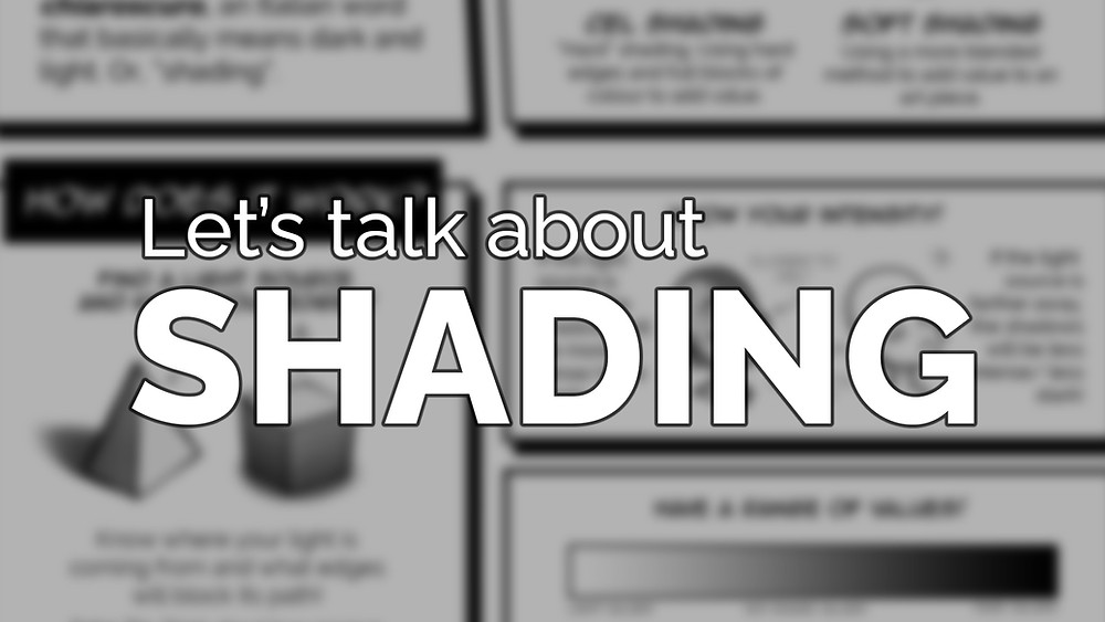 """A blurred worksheet with the text """"let's talk about shading"""" over it"""