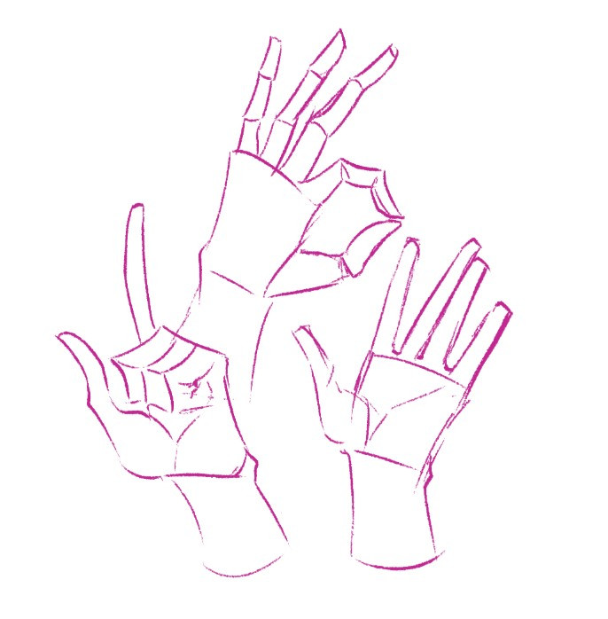hands drawn using simple shapes