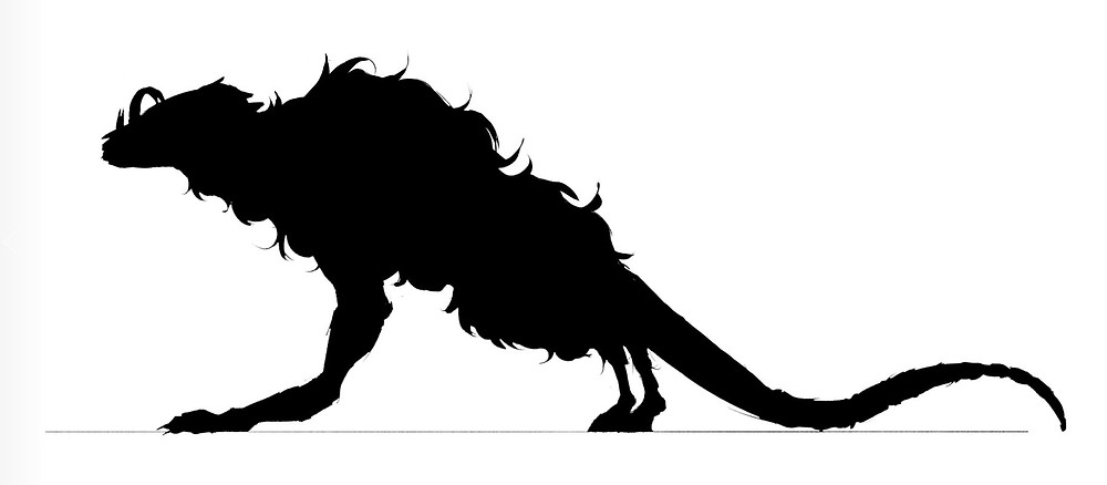 A silhouette of a creature drawn by Jessie Chang