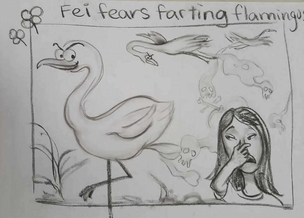 "An alliteration illustration by Fei Lu. Along the top, it reads ""Fei fears farting flamingos"", while what is written is illustrated below."