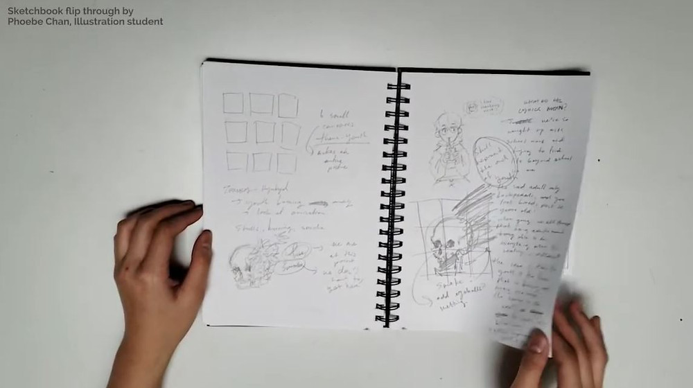 A still from a sketchbook flip through video by Phoebe Chan