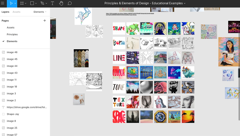 An image of Figma's workspace. There are multiple tiles of designs scattered about.