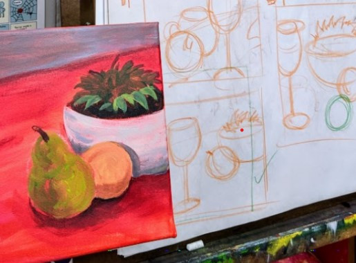 A still life painting next to some chalk thumbnails.