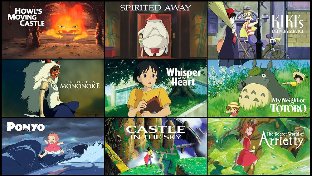 A collection of thumbnails for various films produced by Studio Ghibli.