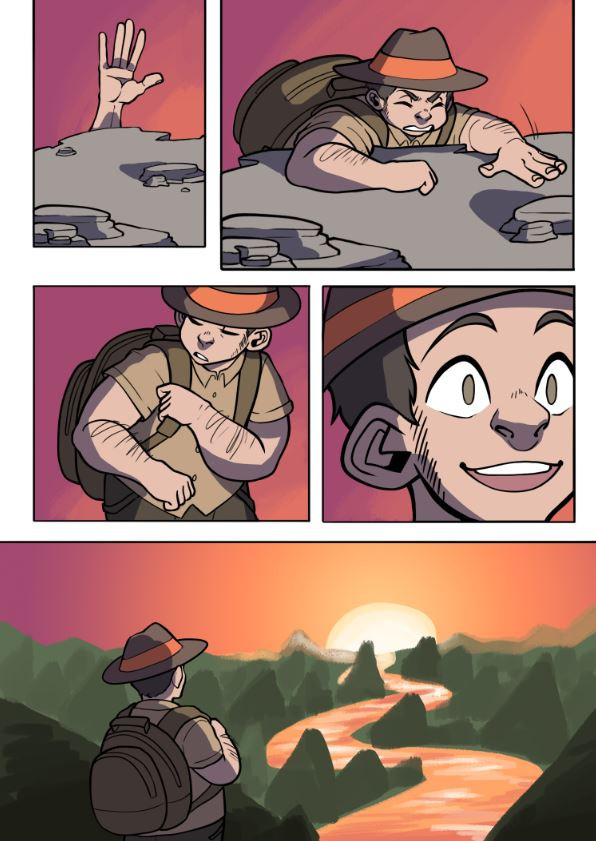 A wordless comic illustrated by Jessie Chang of a man climbing a mountain. A sunset is seen in the final panel as the main subject overlooks a long ravine