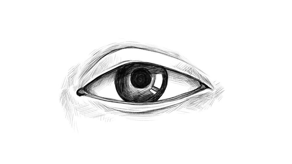 Step 8 of drawing a realistic eye: areas around the eye are shaded