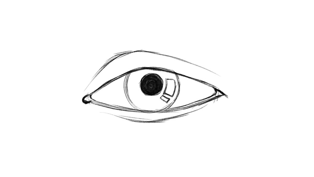 Step 6 of drawing a realistic eye: the reflections in the eye are drawn and the pupil is filled