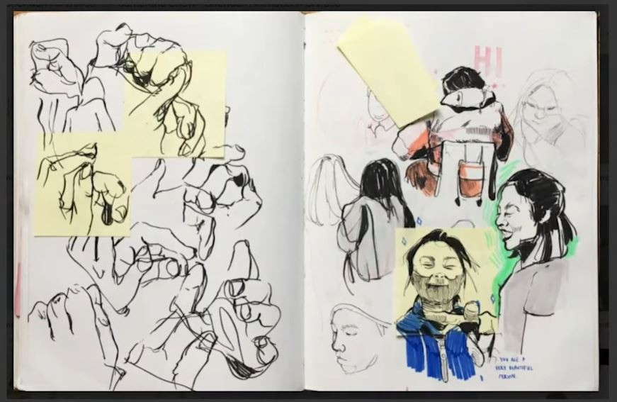 Two pages from Samantha Chow's sketchbook for her Sheridan Animation portfolio (2019)