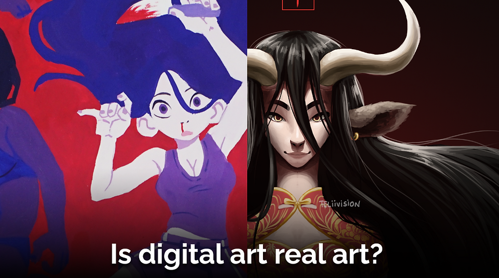 "A thumbnail with two blurred images in the background. White text on it says ""Digital vs. Traditional Art - The Pros and Cons."""