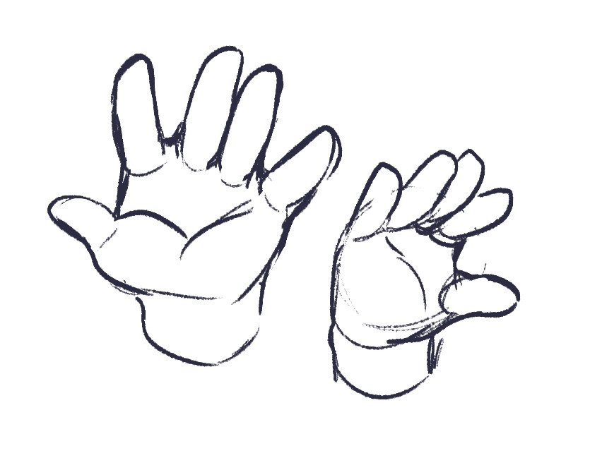 two illustrations of baby hands