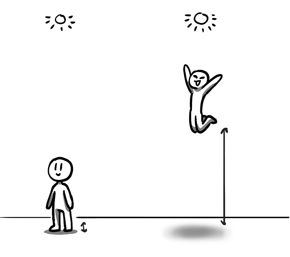 two figures, one standing on the ground, and one jumping far above