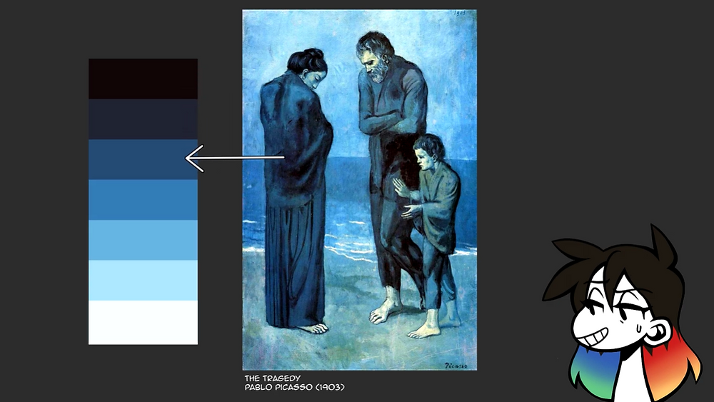 An image of The Tragedy by Pablo Picasso with its colour palette off to its left. Jessie's drawn avatar is in the bottom right corner.