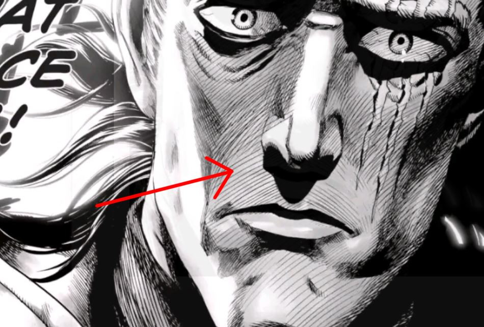 A close up of one of the panels. A red arrow is pointed at the close up face, pointing out the hatched lines used to suggest shadow.