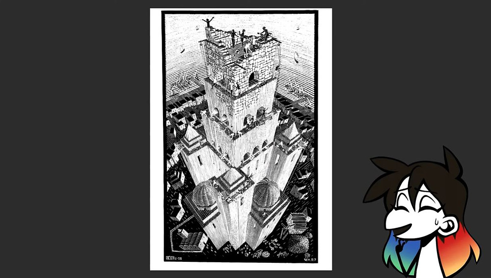 Tower of Babel by M.C. Escher. Jessie Chang's avatar is placed on the bottom right