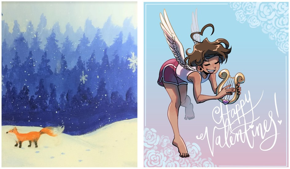 A painting of a forest and a fox on the left, and a digital illustration of an angel boy on the right.