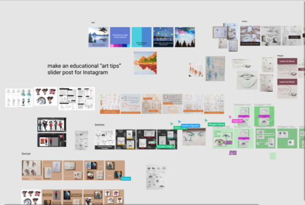 A Figma window. Multiple design tiles are scattered about.