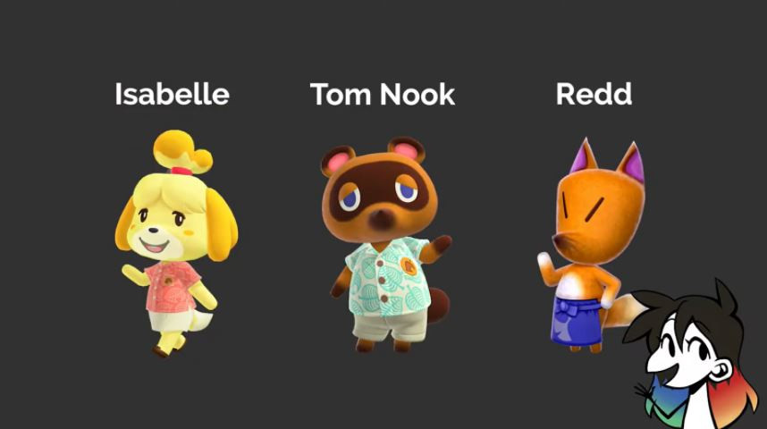 Three Animal Crossing NPC's (left to right), Isabelle, Tom Nook and Redd. Jessie Chang's Youtube avatar is on the bottom right corner.