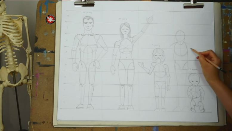 Fei Lu continues to illustrate the elderly figure. The legs and shoulders have now been added.