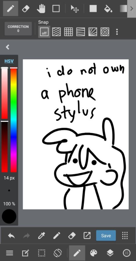 "A screenshot of the default user interface for the MediBang Paint mobile app. A canvas in the middle with a small doodle that says in shaky writing ""I do not own a phone stylus""."