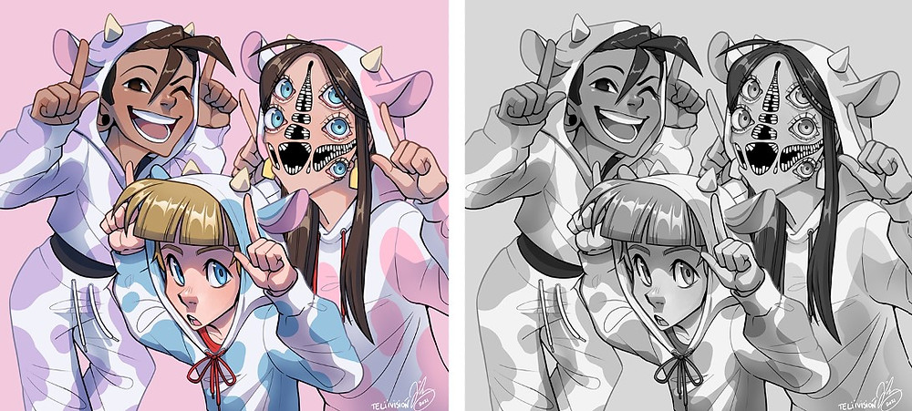 An illustration of 3 characters shown twice. On the left, the piece is in colour, while on the right the piece is in black and white.