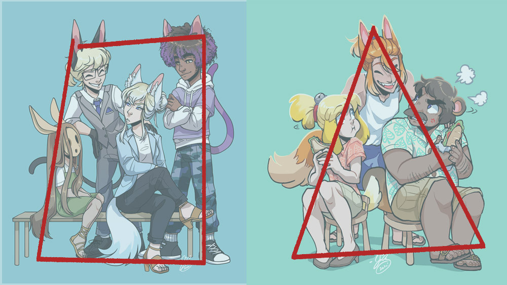 A side by side comparison of the first gijinka piece and the second gijinka piece. Both pieces have been drawn over. The first has a drawn-on rectangle to show its rectangular composition, while the second has a drawn-on triangle to show the triangular composition.