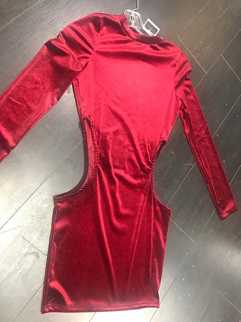 Posh Cut Out Dress (Burgundy ONLY)
