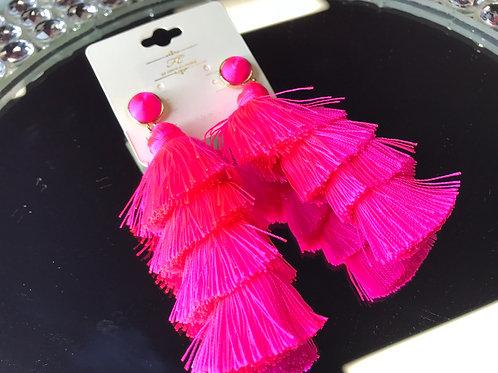 Neon pink chandelier earrings