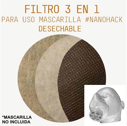 7 días - Filtro circular 3 en 1 para uso Mascarilla #NANOHACK COPPER3D