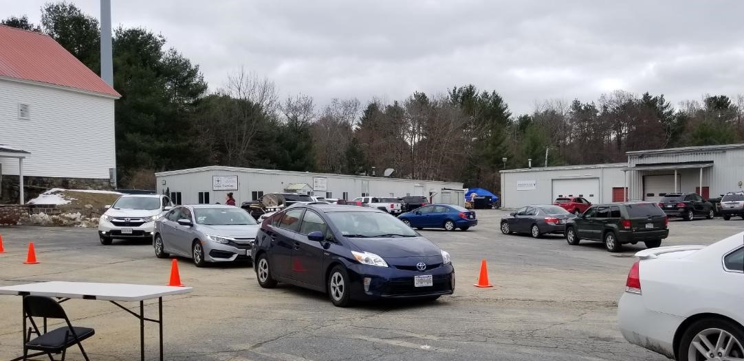 Clients lined up for weekly pick-up