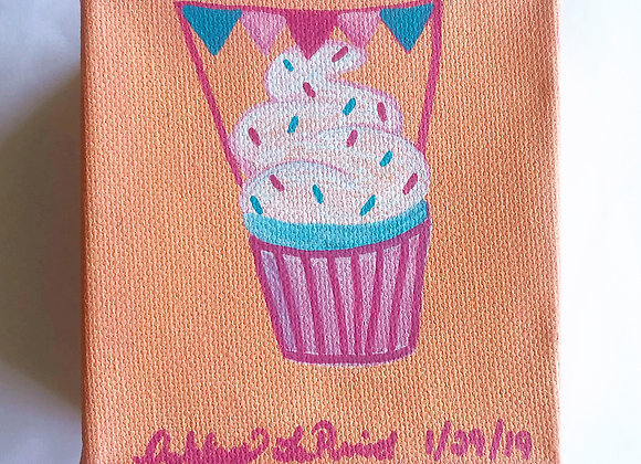 "4""x4"" Acrylic Mini Painting of a Cupcake"
