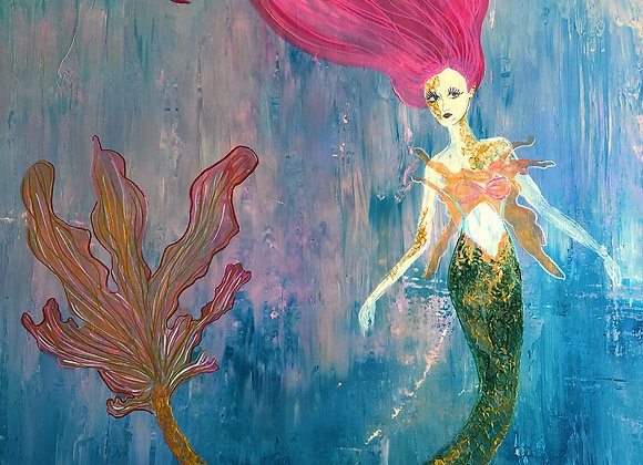 "30""x40"" Original Mermaid Painting on Canvas"