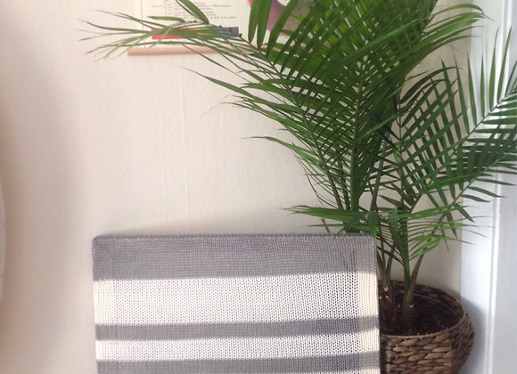 "20""x24"" Gray and White Striped Knit Wall Hanging"
