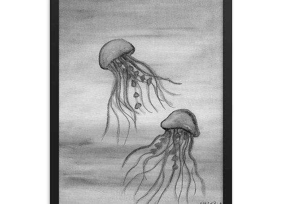 Black and White Jellyfish Framed Poster Print