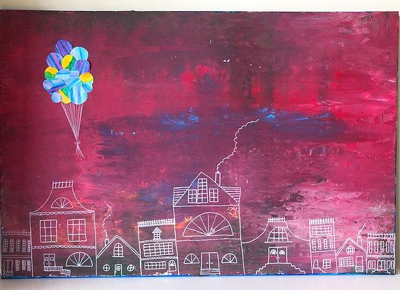 """20""""x40"""" Town Art"""